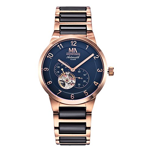 Meister Anker 23cm Rubin rot Uhren Automatik Mineralglas 490000038