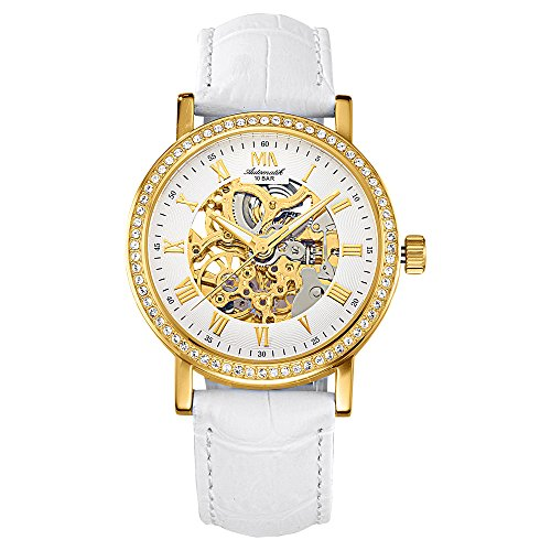 Meister Anker Damen Uhr 24cm Swarovski Kristalle gelb Automatik Mineralglas 490000055