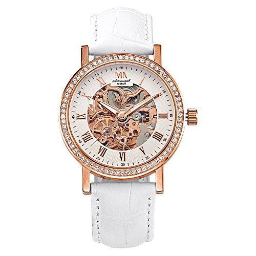 Meister Anker Damen Uhr 24cm Swarovski Kristalle rot Uhren Automatik Mineralglas 490000056