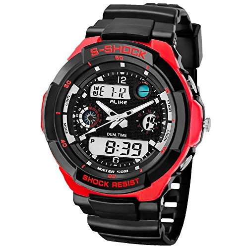 colofan AK1170 Analog Digital elektronische Armbanduhr Fashion Sports Armbanduhren 50 m Wasserdicht Taucheruhr Japan Quarz Uhrwerk rot