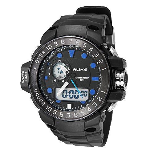 colofan ak15112 Sportuhr Damen und Herren Fashion Multifunktional Wasserdicht Luminous Elektronische Armbanduhr blau