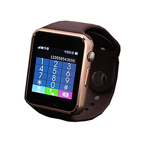 colofan C06 Damen und Herren Bluetooth Smart Uhren koennen Plug Handy Card Telefon Kamera Sport Armbanduhr Schrittzaehler braun