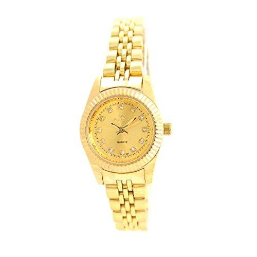 Zeigt Damen Armband Stahl Gold mit Kristallen CZ Ename 2666