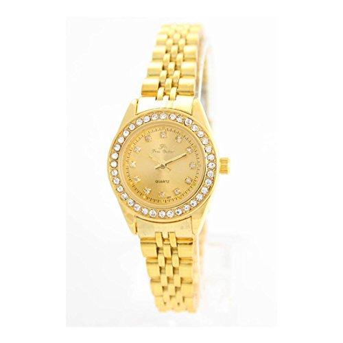 Zeigt Damen Stahl Gold mit Kristallen CZ Ename 2739