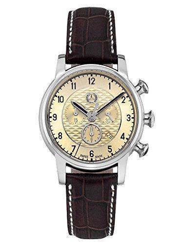Armbanduhr Herren High Classic braun beige Edelstahl Leder