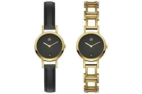 Mercedes Benz Armbanduhr Damen gold schwarz Edelstahl