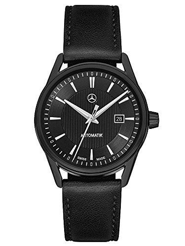 Mercedes Benz Armbanduhr Herren Limitiert MB Automatik Black Edition schwarz silber Edelstahl Lammleder PVD beschichtet