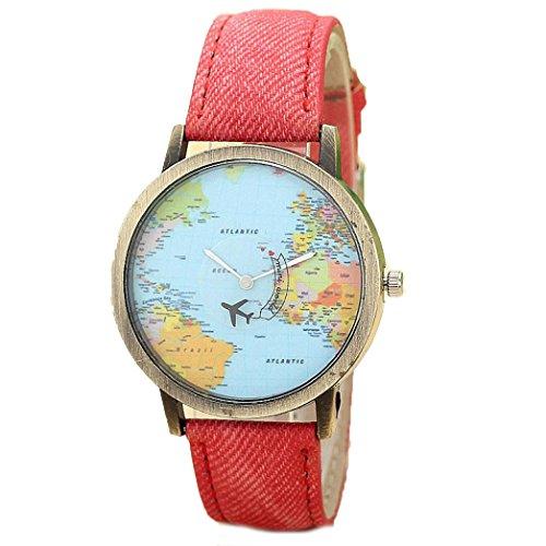 Bluestercool Neue Mode Frauen Denim Stoff Band Rot Uhr Weltweite Reisen mit dem Flugzeug