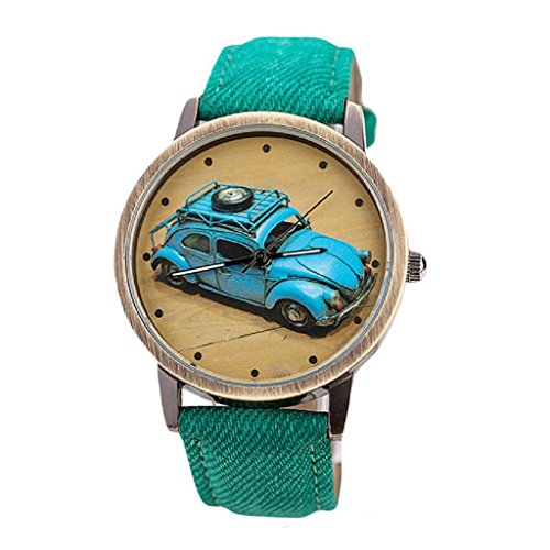 Bluestercool Unisex kurz Mode Retro Auto Muster Denim Twill Gruen Armbanduhr