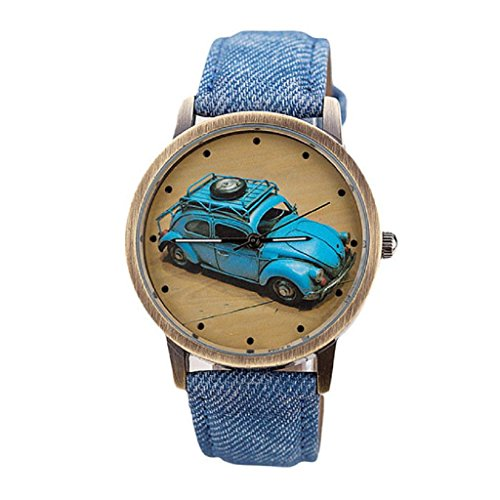 Bluestercool Unisex kurz Mode Retro Auto Muster Denim Twill Blau Armbanduhr