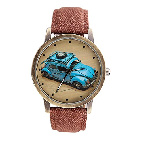 Bluestercool Unisex kurz Mode Retro Auto Muster Denim Twill Kaffee Armbanduhr