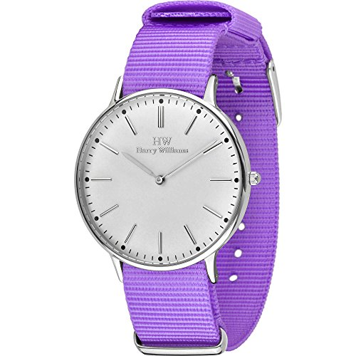 Armbanduhr Damen Harry Williams Armband Nato Nylon violett Gehaeuse Stahl