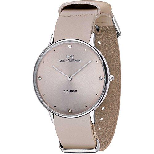 Armbanduhr Harry Williams Damen Armband Leder beige Diamanten HW 2014L 39d