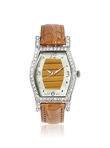Croton Damen braun Leder Band Messing Fall Quarz analoge Uhr cn207514tnti