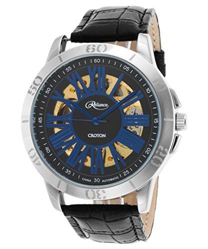 Croton Reliance Herren Armbanduhr 45mm Armband Leder Schwarz Gehaeuse Edelstahl Automatik RE306076SSBL