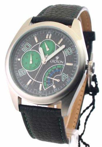 Mens Croton Leder Tag Datum 24 Stunden Zeit Watch CN307161BSGR