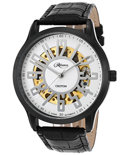 Croton Reliance Herren Armbanduhr 43mm Armband Leder Schwarz Gehaeuse Metall Automatik Analog RE306072BKBK