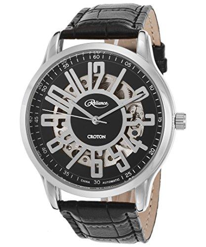 Croton Reliance Herren Armbanduhr 43mm Armband Leder Schwarz Gehaeuse Metall Automatik Analog RE306072WSDW