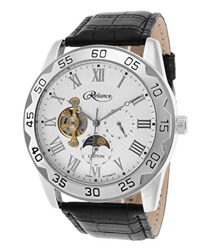 Croton Reliance Herren Armbanduhr 47mm Armband Leder Schwarz Gehaeuse Metall Automatik Analog RE306074WSDW