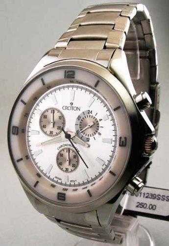 Mens Croton Stahl Chrono Tachymeter Watch CC311239SSSL