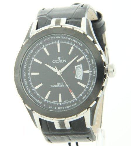 Mens Croton two tone Bezel Tachymeter Datum Leder Watch CN307376SSBK