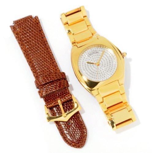 Kroton Herren Czar Diamant Armband Gold Tone Band Eidechse Strap Watch CN307315INYL