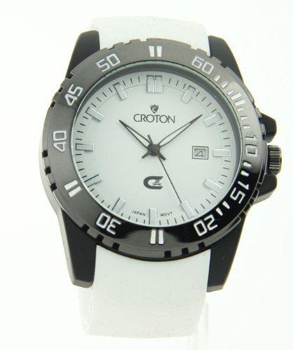 Kroton Mens Sport Quarz Datum Weisse Gummi Armband Watch CX328010WSWH