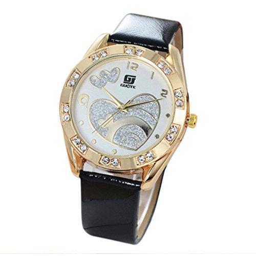 familizo Frauen Leder Band Uhren Love Muster Analog Quarz Diamant Armbanduhr Schwarz