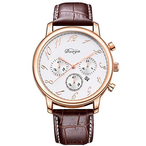 Familizo Herren Business Armbanduhr mit Lederband Datumsanzeige Braun Gold