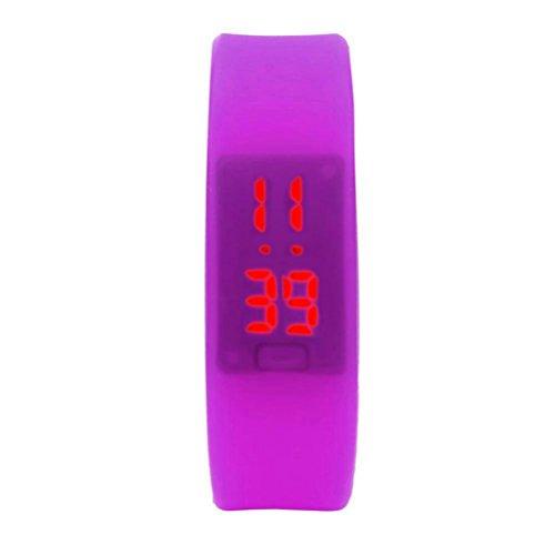 familizo Unisex Gummi LED Uhr Datum Sports Armband digitale Armbanduhr Lila