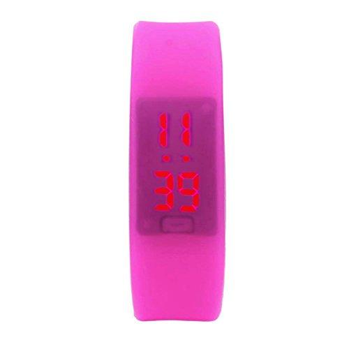 familizo Unisex Gummi LED Uhr Datum Sports Armband digitale Armbanduhr Pink