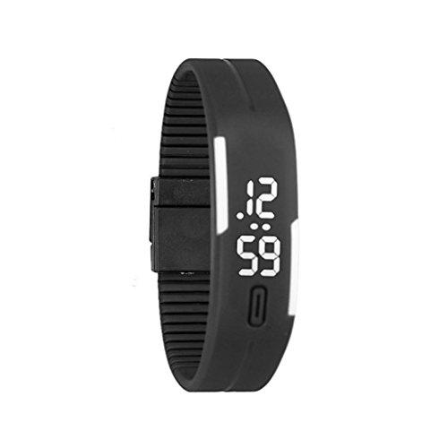 familizo Unisex Gummi LED Uhr Datum Sports Armband digitale Armbanduhr Schwarz Weiss
