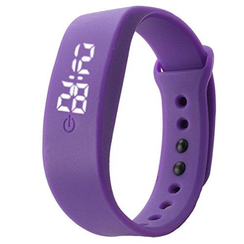 familizo Unisex Gummi Silikon LED Uhren Datum Sports Armband digitale Armbanduhr Lila