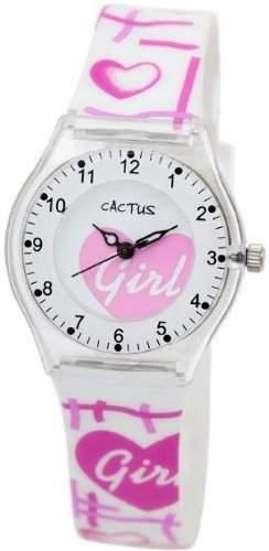 Cactus Maedchen-Armbanduhr Analog Kunststoff weiss CAC-39-M11