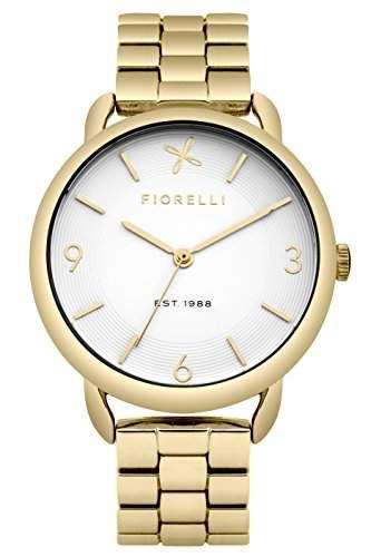 Fiorelli Damen Quarzuhr mit weissem Zifferblatt Analog Anzeige und Gold Legierung Armband fo023gm