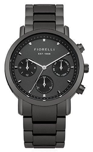 Fiorelli Damen Quarzuhr mit schwarzem Zifferblatt Analog Anzeige und Gun Metall Legierung Armband fo029bm