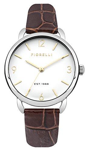 Fiorelli Damen Quarzuhr mit weissem Zifferblatt Analog Anzeige und braunem Lederband fo031ts