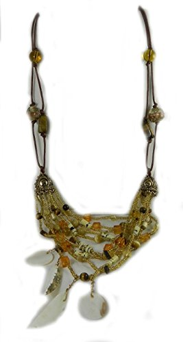 Designer Look braun Cord Shell und Bernstein Glas Bead Halskette mit Verlaengerung Kette kommt mit Box