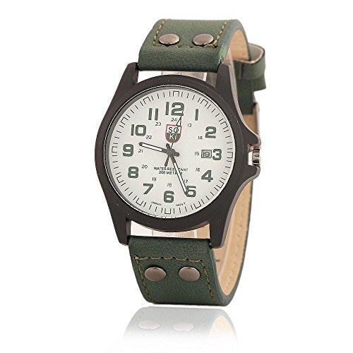 Herren Sport Armbanduhr Military Kalender Analog weiss Zifferblatt Gruen Lederband Marley 1