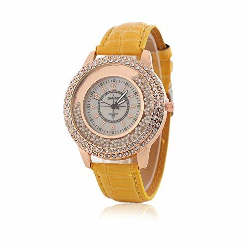 Frauen Fashion Designer Quarzuhr mit Gelb Leder Band Damen Strass Armbanduhr Diamant Kristall Kreis Driften Kleine Perlen Dekoration