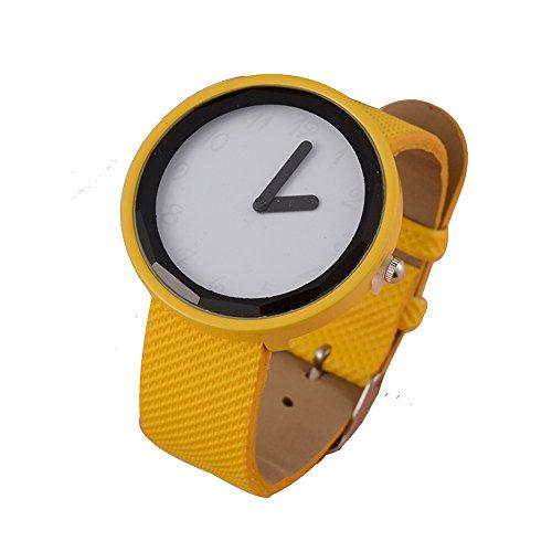 Frauen Einfache Entwurf Quarz Uhr mit Kunstleder Armband und Pure White Zifferblatt