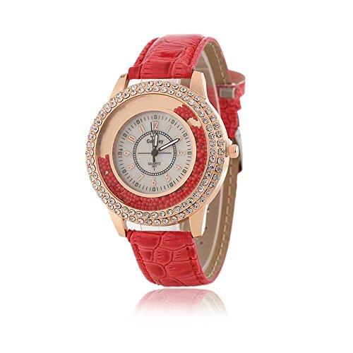 Frauen Fashion Designer Quartz Uhr mit Rot Leder Band Damen Strass Armbanduhr Diamant Kristall Kreis Driften Kleine Perlen Dekoration