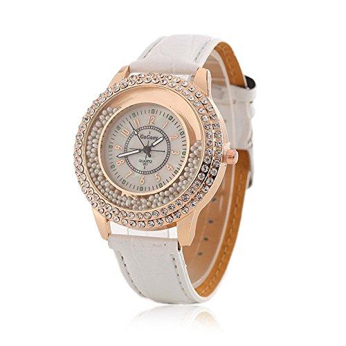 Frauen Fashion Designer Quartz Uhr mit Weiss Leder Band Damen Strass Armbanduhr Diamant Kristall Kreis Driften Kleine Perlen Dekoration