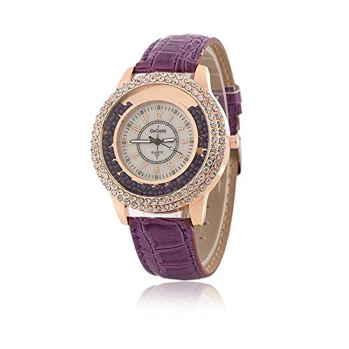Frauen Fashion Designer mit Lila Leder Band Damen Strass Armbanduhr Diamant Kristall Kreis Driften Kleine Perlen Dekoration