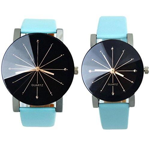 Gossip Boy Armbanduhren Set fuer Herren und Damen Quarz Uhrwerk mit Zifferblatt Leder Armband rundes Gehaeuse
