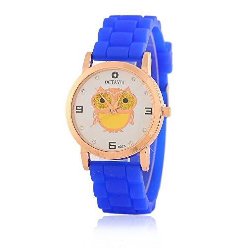 Niedliche Eule Diamanten Quarz analoge Uhr fuer Teenage Maedchen Candy Farbe Silikon Gurt Blau