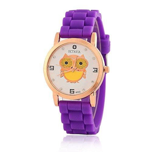 Niedliche Eule Diamanten Quarz analoge Uhr fuer Teenage Maedchen Candy Farbe Silikon Schlaufe Violett