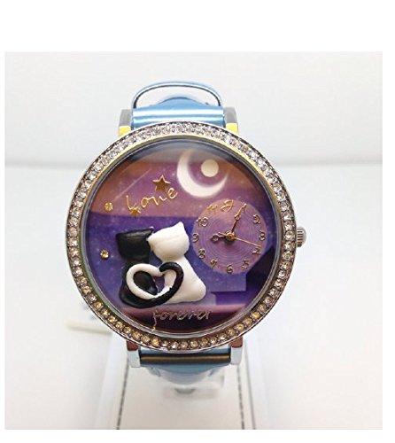 Uhr mit IP Silber und Armband hellblau Verliebte Katzen