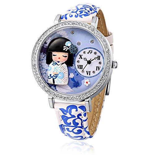 Uhr mit IP Silber und Armband Weiss Blau Geisha