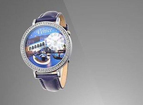 Uhr mit IP Versilbert und Armband Blau